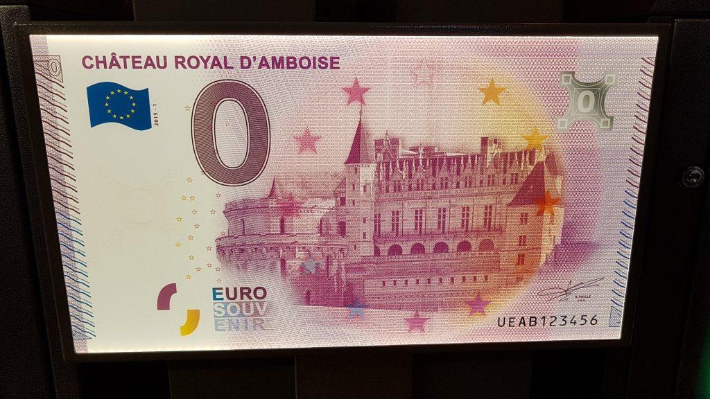 Geldschein mit dem Abbild von Ambosse im Loiretal, Frankreich.