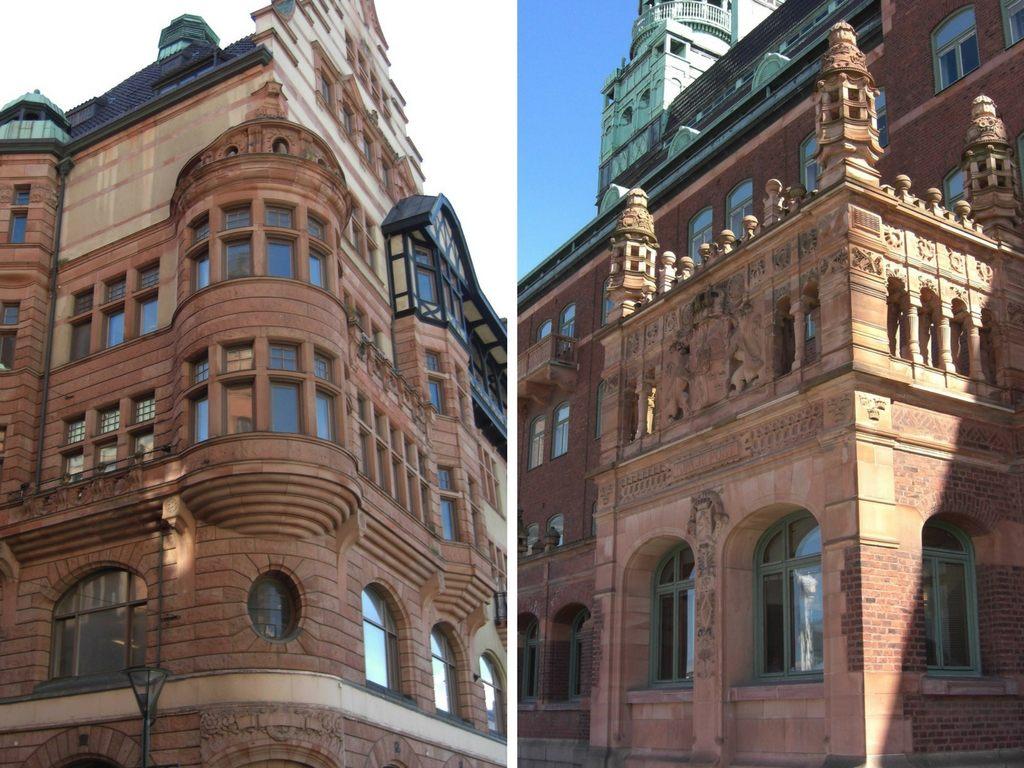 Häuserfassaden in Malmö in Schonen, Schweden