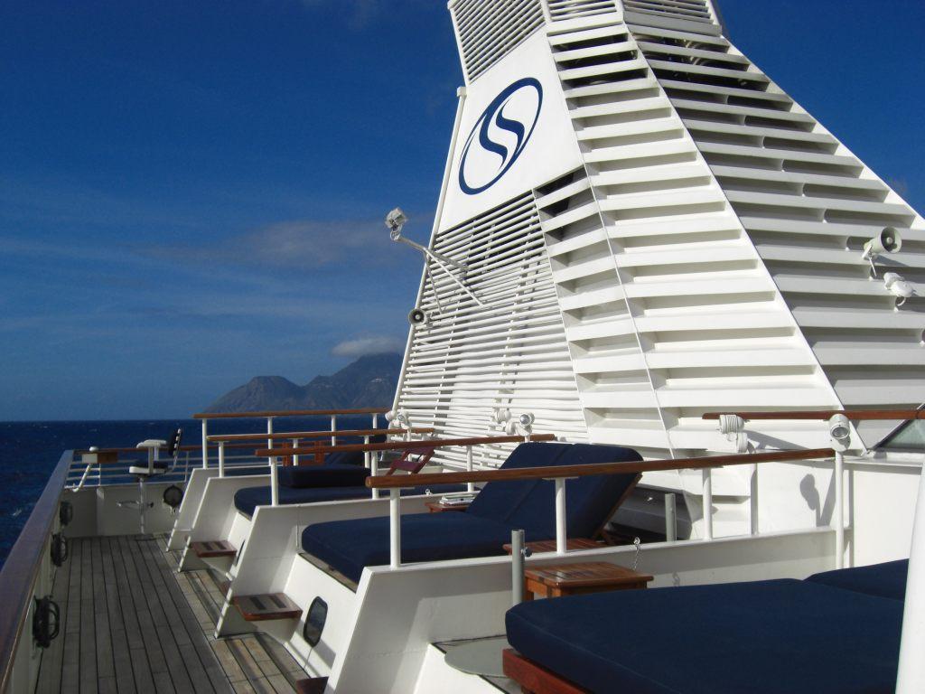 Schornstein des Kreuzfahrtschiffes SeaDream