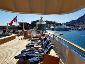 das Kreuzfahrtschiff SeaDream im Hafen von Monaco