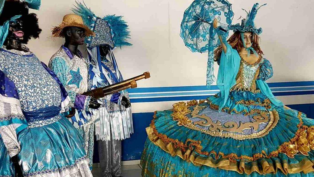 Pappmascheefiguren vom Boi Bumba-Festival in Parintins am Amazonas, Brasilien.