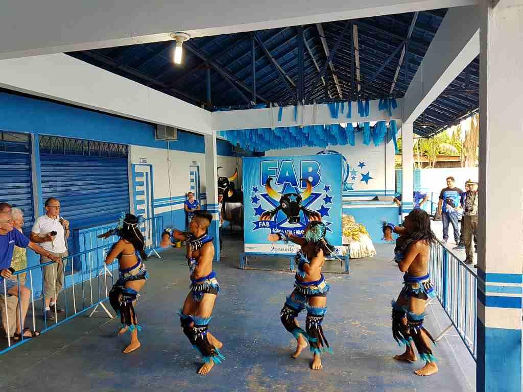 Tanzgruppe der Caprichosos vom Festival Boi Bumba in Parintins, Brasilien