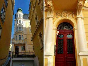 Details an einem Haus in Marienbild, Tschechien.