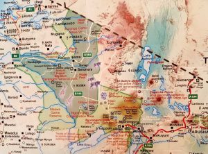 """Landkarte von Tansania mit dem """"Northern Circuit"""