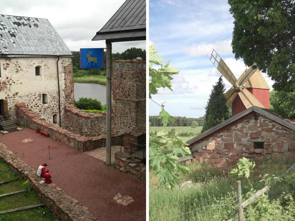 Das Bild zeigt Schloss Kastelholm und eine alte Windmühle auf Åland, dem Schärenparadies in der Ostsee.