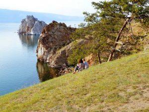 Schamenenfelsen auf der russischen Insel Olchon im Baikalsee
