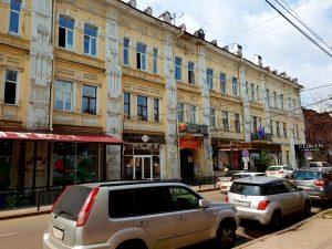 Die Karl-Mark-Straße im sibirischen Irkutsk unweit des Baiukalsees