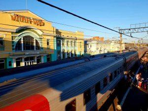 der Bahnhof in Ulan Ude, Russland, an der Transsib-Strecke Richtung Mongolei