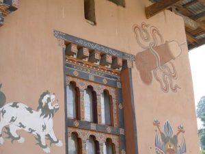 Häuser in traditioneller Bauweise in der Haupztstadt Bhutans, Thimphu