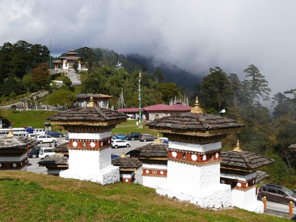 der Dochula-Pass in Bhutan auf 3100 Meter.
