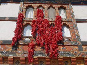 Chilischoten in einem Haus in Bhutan