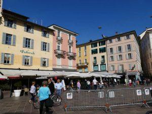 die Piazza della Riforma, die gute Stube von Lugano im Tessin, Schweiz.