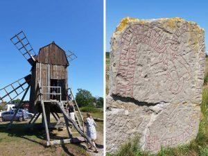 Runenstein und Windmühle auf der schwedischen Insel Öland