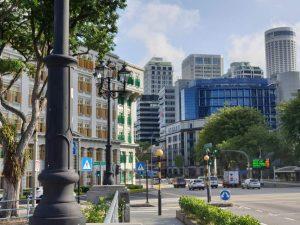 Blick auf die Skyline von Singapur