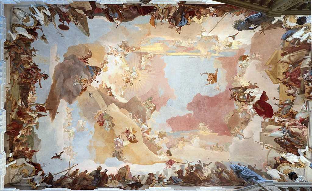 das berühmte Deckengemälde von Tiepolo in der Würzburger Residenz