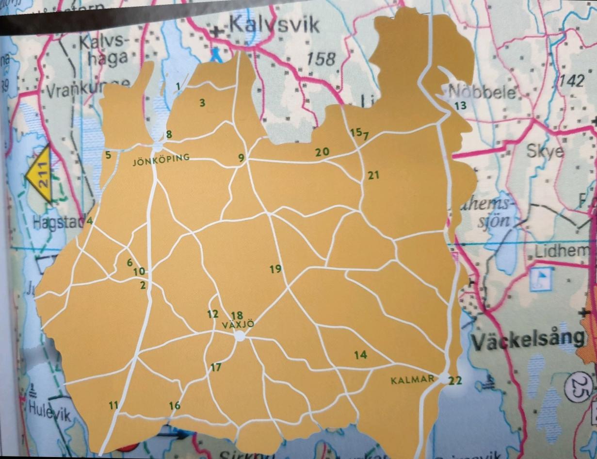 Eine grobe Karte zu den Sehenswürdigkeiten Smålands.