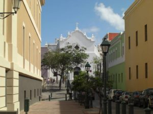 Die Kirche San Jose in der Aktstadt von San Juan, der Hauptstadt der Karibikinsel Puerto Rico