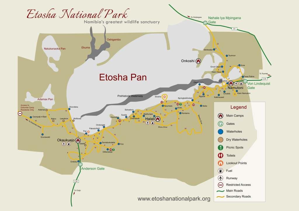 Landkarte vom Etosha-Nationalpark in Namibia